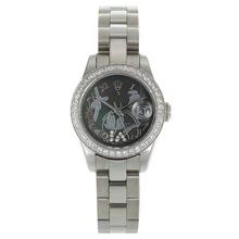 Replique Rolex Datejust automatique Diamond Bezel marqueurs romaine avec MOP Dial-fleurs Illustration - Noir Montre Rolex DateJust attrayant pour vous 20277
