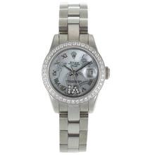 Replique Rolex Datejust automatique Diamond Bezel marqueurs romaine avec MOP Dial-Fleurs Blanc Illustration - Belle Montre Rolex DateJust pour vous 20276