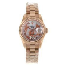 Replique Rolex Datejust automatique complet marqueurs romains en or rose avec cadran MOP-Fleurs Blanc Illustration - Belle Montre Rolex DateJust pour vous 20272