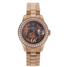 Replique Rolex Datejust automatique complet marqueurs Rose d'or lunette sertie de diamants avec MOP Dial Roman-Fleurs Illustration Noir - Montre Rolex DateJust attrayant pour vous 20271