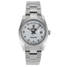 Replique Rolex Day-Date diamant Marqueurs automatiques avec cadran blanc-verre de saphir - Belle Montre Rolex Day Date 22293 pour vous