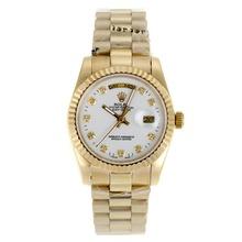 Replique Rolex Day-Date automatique complet marqueurs de diamant d'or avec cadran blanc-verre de saphir - Belle Montre Rolex Day Date 22286 pour vous