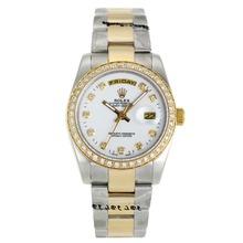 Replique Rolex Day-Date automatique lunette sertie de diamants Deux tons et des marqueurs avec cadran blanc-verre de saphir - Belle Montre Rolex Day Date 22279 pour vous
