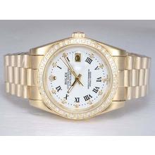 Replique Rolex Datejust automatique d'or complète avec lunette sertie de diamants et de marquage-cadran blanc - Attractive montre Rolex DateJust pour vous 22006