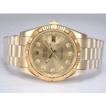 Replique Rolex Datejust automatique d'or complète avec Diamant Marquage-Golden Dial - Attractive montre Rolex DateJust pour vous 22005