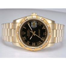 Replique Rolex Datejust automatique d'or complète avec cadran noir-romaine de marquage - Attractive montre Rolex DateJust pour vous 22004