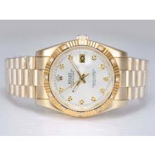 Replique Rolex Datejust automatique d'or complète avec Diamant Marquage-Cadran Argent - Attractive montre Rolex DateJust pour vous 22002