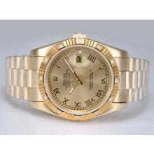 Replique Rolex Datejust automatique d'or pleine d'or avec cadran-romaine de marquage - Attractive montre Rolex DateJust pour vous 22001