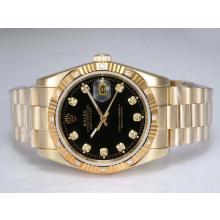 Replique Rolex Datejust automatique d'or complète avec Diamant Marquage-Cadran Noir - Attractive montre Rolex DateJust pour vous 22000