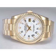 Replique Rolex Datejust automatique d'or complète avec cadran blanc - Attractive montre Rolex DateJust pour vous 21999