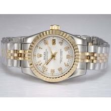 Replique Rolex Datejust automatique Two Tone avec cadran blanc-Nombre de marquage - Attractive montre Rolex DateJust pour vous 21997