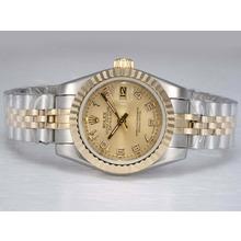 Replique Rolex Datejust automatique Two Tone avec Golden Dial-Marquage Numéro - Attractive montre Rolex DateJust pour vous 21996