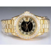 Replique Rolex Datejust Swiss ETA 2671 Mouvement d'or complète avec lunette sertie de diamants et de marquage-Noir Taille Dame Dial - Attractive montre Rolex DateJust pour vous 21990
