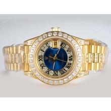 Replique Rolex Datejust Swiss ETA 2671 Mouvement d'or complète avec lunette sertie de diamants et de marquage-Bleu Taille-Dame Dial - Attractive montre Rolex DateJust pour vous 21989