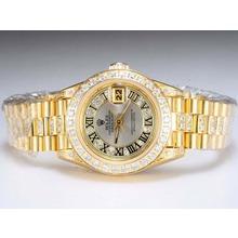 Replique Rolex Datejust Swiss ETA 2671 Mouvement d'or complète avec lunette sertie de diamants et de marquage-Gray Taille-Dame Dial - Attractive montre Rolex DateJust pour vous 21988