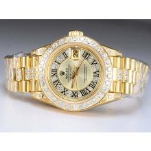 Replique Rolex Datejust Swiss ETA 2671 Mouvement d'or complète avec lunette sertie de diamants et de marquage-Gold Taille-Dame Dial - Attractive montre Rolex DateJust pour vous 21987