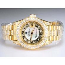 Replique Rolex Datejust Swiss ETA 2671 Mouvement d'or complète avec lunette sertie de diamants et de marquage-Blanc Taille-Dame Dial - Attractive montre Rolex DateJust pour vous 21986