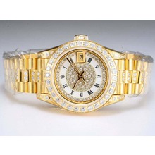Replique Rolex Datejust Swiss ETA 2671 Mouvement d'or complète avec lunette sertie de diamants et cadran blanc-Taille-Dame - Attractive montre Rolex DateJust pour vous 21985