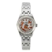 Replique Rolex Masterpiece automatique Diamond Bezel avec cadran blanc MOP S / S-fleurs Illustration - Belle Montre Rolex Masterpiece pour vous 24449