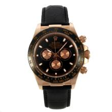 Replique Rolex Daytona II automatique lunette en or rose Case céramique avec cadran noir-bracelet en cuir 24152