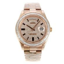 Replique Rolex Day-Date entièrement automatique en or rose avec cadran de diamant CZ-lunette sertie de diamants et marqueurs-même châssis que la version ETA - Attractive montre Rolex Day Date 22269 pour vous