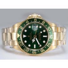 Replique Rolex GMT-Master II automatique or GMT travail complète avec lunette et cadran vert - Attractive Rolex GMT Regarder pour vous 24423