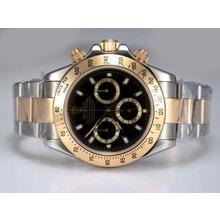 Replique Rolex Daytona Chronographe Suisse Valjoux 7750 Mouvement deux tons avec cadran noir - Attractive Rolex Daytona Montre pour vous 24088