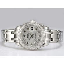 Replique Rolex Masterpiece automatique lunette Diamant Marquage et avec cadran argenté - Attractive montre Rolex Masterpiece pour vous 24737