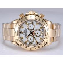 Replique Rolex Daytona Chronographe Suisse Valjoux 7750 Mouvement d'or complète avec cadran blanc - Attractive Rolex Daytona Montre pour vous 24084
