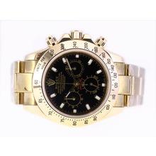 Replique Rolex Daytona Chronographe Suisse Valjoux 7750 Mouvement d'or complète avec cadran noir - Attractive Rolex Daytona Montre pour vous 24082