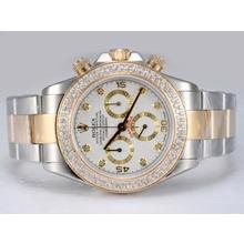 Replique Rolex Daytona Chronographe Suisse Valjoux 7750 Mouvement deux tons avec lunette sertie de diamants Cadran Blanc-- Attractive Rolex Daytona Montre pour vous 24081
