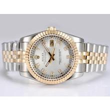 Replique Rolex Datejust Swiss ETA 2836 Mouvement Two Tone-14K Enveloppé avec cadran blanc - Montre Rolex DateJust attrayant pour vous 21955