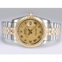 Replique Rolex Datejust Swiss ETA 2836 Mouvement Two Tone-14K Enveloppé avec cadran doré - Montre Rolex DateJust attrayant pour vous 21954