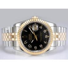 Replique Rolex Datejust Swiss ETA 2836 Mouvement Two Tone-14K Enveloppé avec cadran noir - Montre Rolex DateJust attrayant pour vous 21953