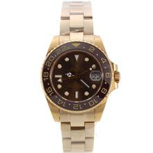 Replique Rolex GMT-Master II automatique or jaune avec la pleine lunette et cadran brun-Taille - Attractive Rolex GMT Regarder pour vous 24244