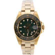 Replique Rolex GMT-Master automatique d'or pleine jaune avec lunette verte et accès à distance Taille - Attractive Rolex GMT Regarder pour vous 24243