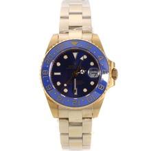Replique Rolex GMT-Master II automatique or jaune avec la pleine lunette bleue et Dial-verre de saphir - Attractive Rolex GMT Regarder pour vous 24242