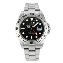 Replique Rolex Explorer II GMT travail suisse ETA 2836 Mouvement avec cadran noir super lumineuse S / S - Montre Rolex Explorer attrayant pour vous 24201