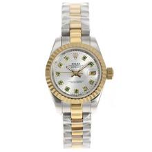 Replique Rolex Datejust automatique Two Tone avec Diamant Marquage-Cadran Argent - Attractive montre Rolex DateJust pour vous 21951