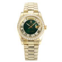 Replique Rolex Day-Date automatique lunette pleine de diamants en or avec cadran vert-romaine Marquage - Attractive Rolex Day Date Montre pour vous 22265