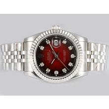 Replique Rolex Datejust automatique de diamant marquage avec cadran rouge - Belle Montre Rolex DateJust pour vous 21949