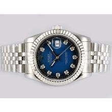 Replique Rolex Datejust automatique de diamant marquage avec cadran bleu - Montre Rolex DateJust attrayant pour vous 21948