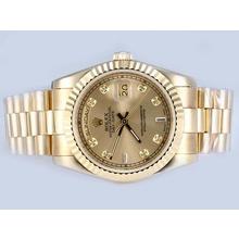 Replique Rolex Day-Date automatique complet de diamant d'or marquage avec cadran doré - Attractive montre Rolex Day Date 22615 pour vous