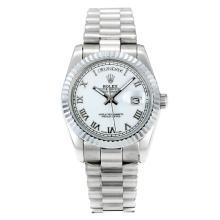 Replique Rolex Day-Date automatique des marqueurs romains avec cadran S / S Blanc - Attractive montre Rolex Day Date 22264 pour vous