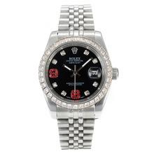 Replique Rolex Datejust II automatique Diamond Bezel avec cadran noir S / S-Diamond Markers - Belle Rolex Datejust II montre pour vous 22044