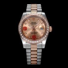 Replique Rolex Datejust II automatique à deux lunette sertie de diamants ton et marqueurs avec cadran champagne (Gift Box est inclus) - Attractive Rolex Datejust II montre pour vous 22037