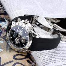 Replique Rolex Daytona II marqueurs de bâton automatique avec cadran noir-Bracelet Caoutchouc (boîte-cadeau est inclus) 24 141