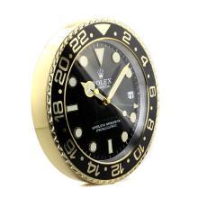 Replique Rolex GMT-Master II lunette noire en or jaune mur horloge Boîtier avec cadran noir - Attractive Rolex GMT Regarder pour vous 24235