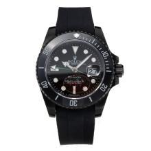 Replique Rolex GMT-Master II automatique lunette en céramique Boîtier PVD Cadran Noir-Bracelet Caoutchouc Vert-aiguille - Attractive Rolex GMT Regarder pour vous 24232