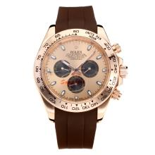 Replik Rolex Daytona II Automatic Rose Gold Case with Champagne Dial-Rubber Strap 24134
